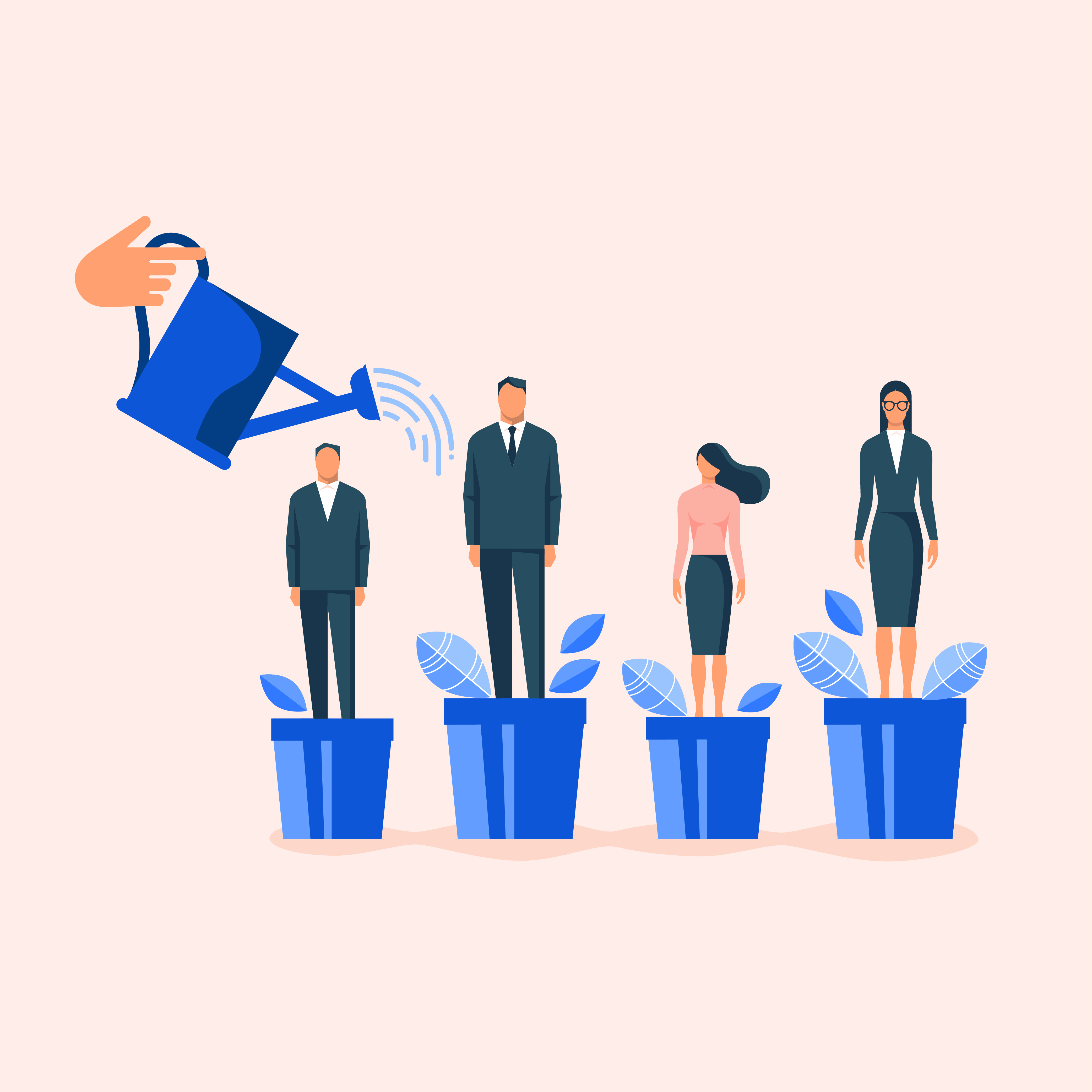 """alt=""""watering employees in flowerpots illustration for career development and professional growth"""""""